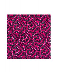 Pocket Square - Pink Spikey Worm Print